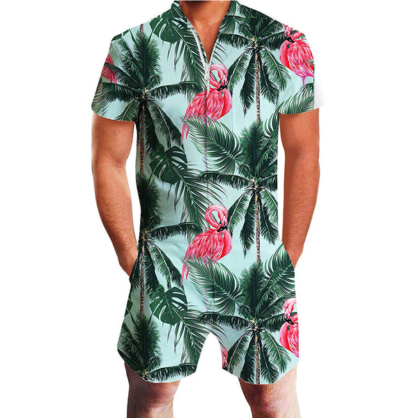 Coconut Tree Flamingo Male Romper