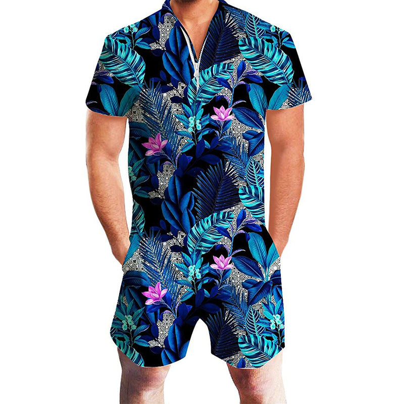 Blue Floral Male Romper