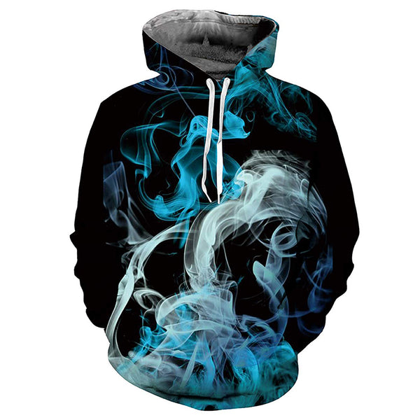 Blue and White Smoke Graphic Hoodie