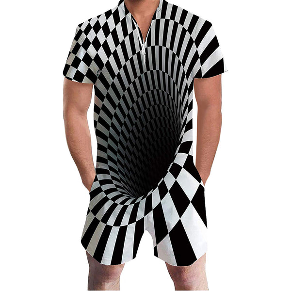 Novelty Black and White Male Romper