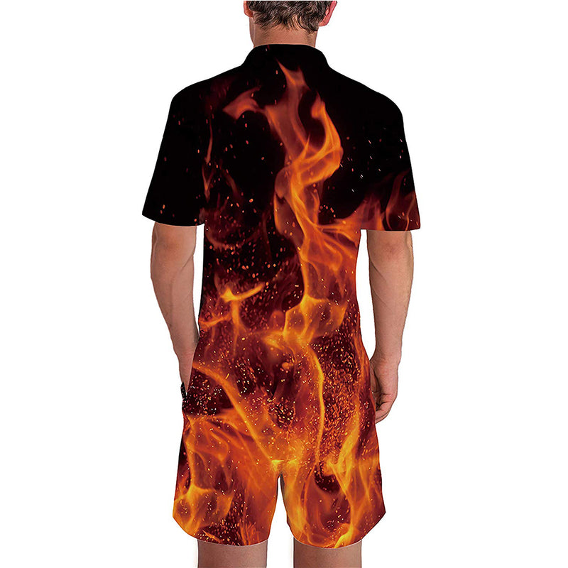 Fire Flames Male Romper