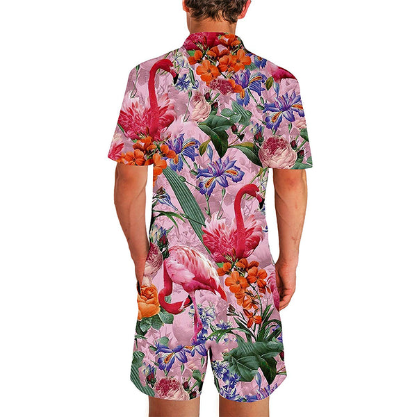 Floral Flamingos Male Romper Pink