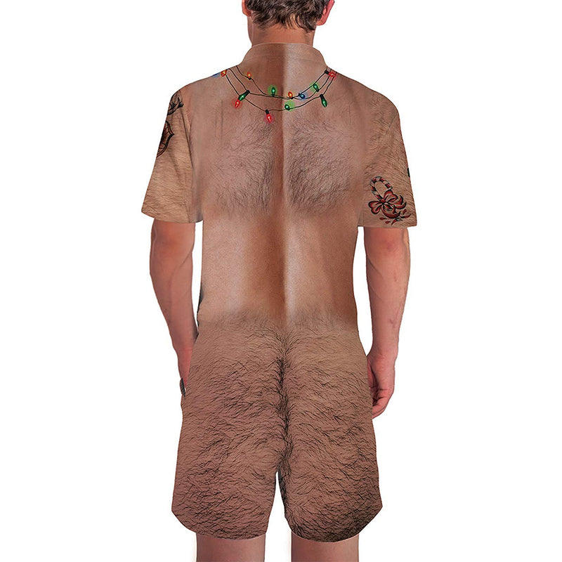 Christmas Chest Hairy Male Romper