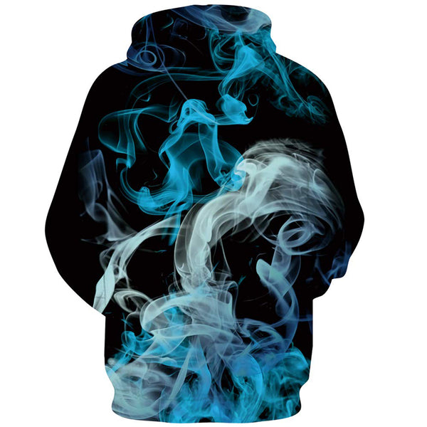Blue and White Smoke Hoodie