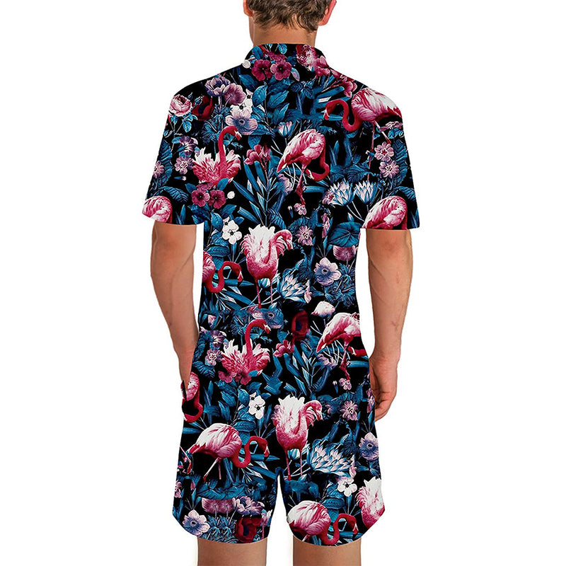 Flamingos Male Romper Blue