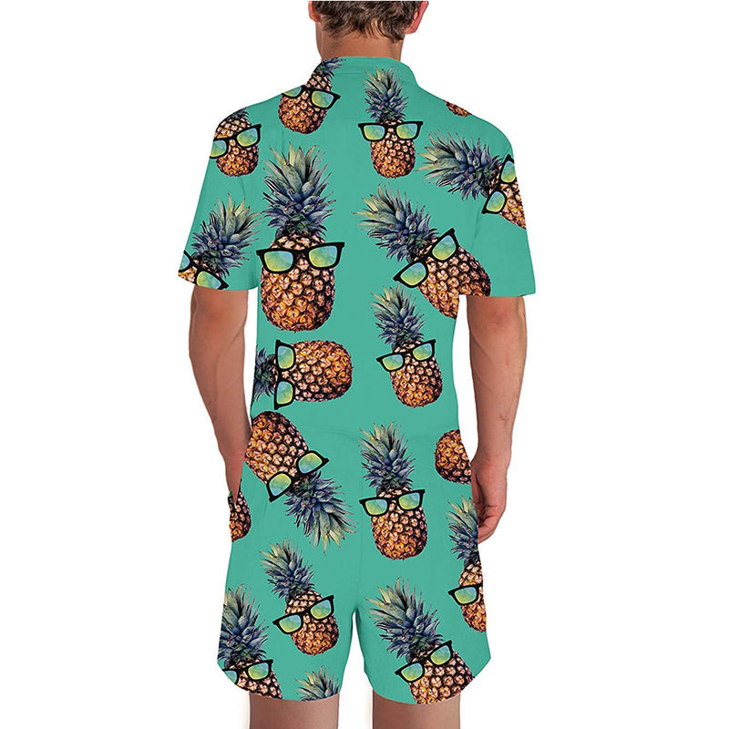 Green Glasses Pineapple Male Romper