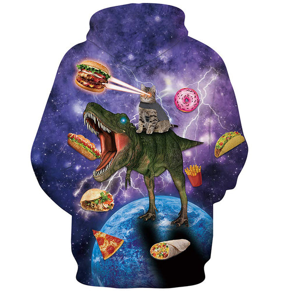 Cat Riding Dinosaur Galaxy Hoodie