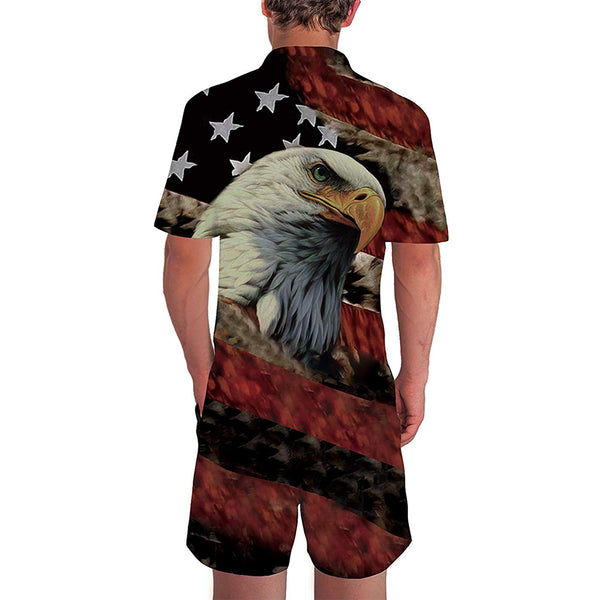 American Flag Male Romper