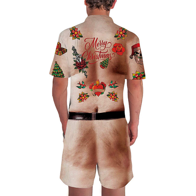 Ugly Christmas Chest Hairy Male Romper