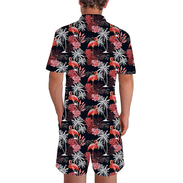 Black Coconut Tree Flamingos Male Romper