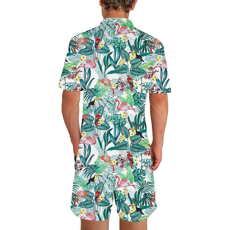 Floral Flamingos Male Romper Green