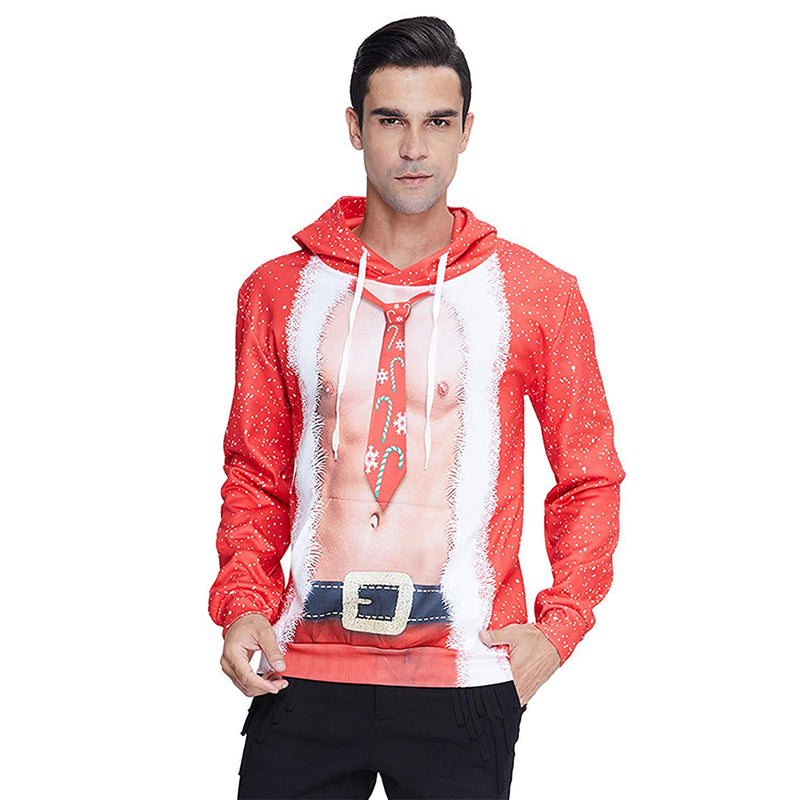 Tie Muscle Chest Christmas Hoodie