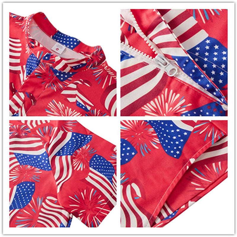 Red American Flag Male Romper