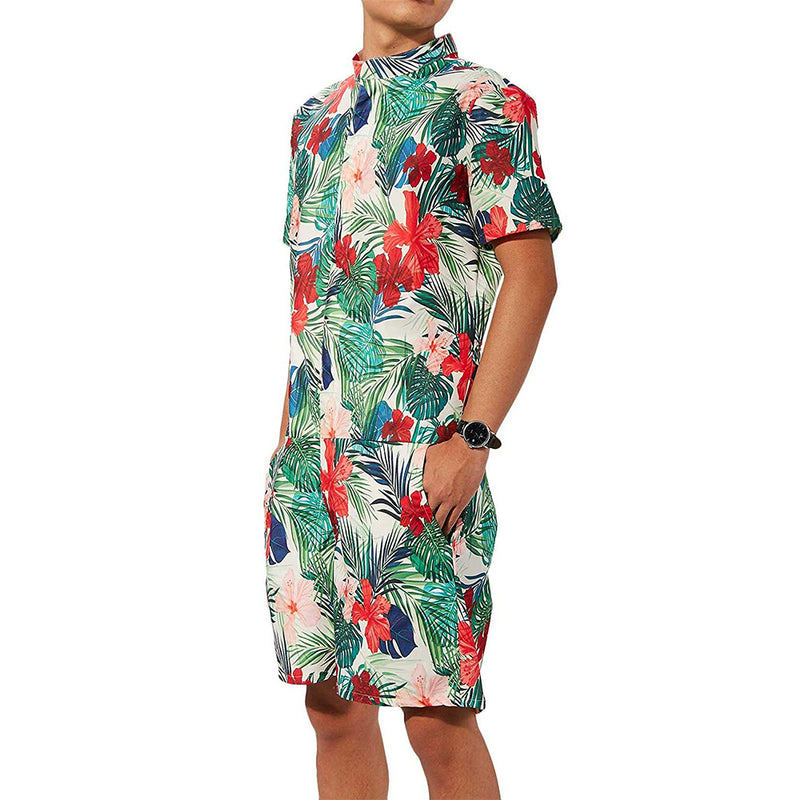 Flowers Male Romper Green