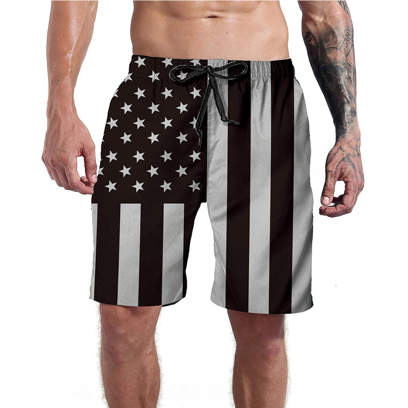 Black American Flag Funny Swim Trunks