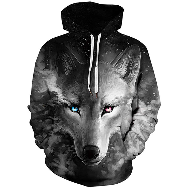 Grey Lighting Eyes Wolf Graphic Hoodie