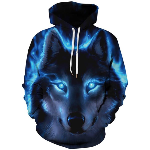 Blue Lighting Wolf Graphic Hoodie
