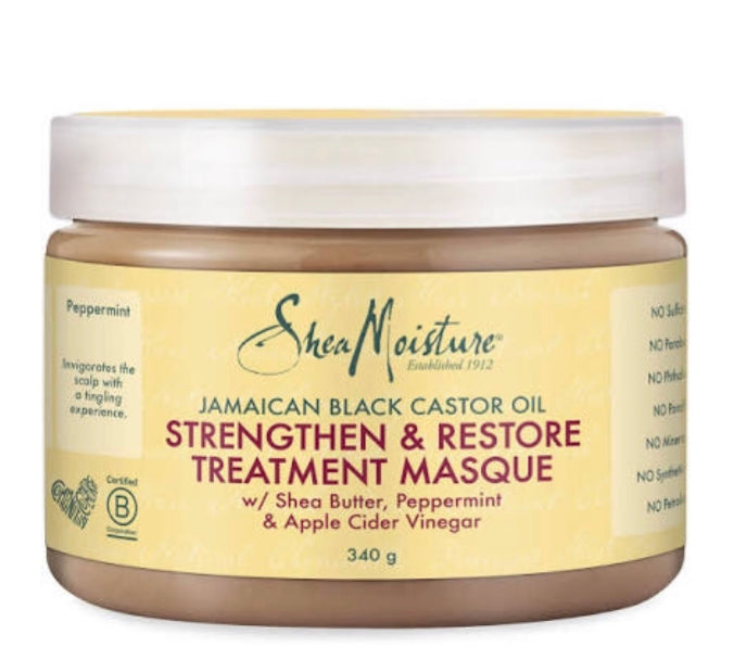 Natural hair care: Shea moisture deep conditioning treatment.
