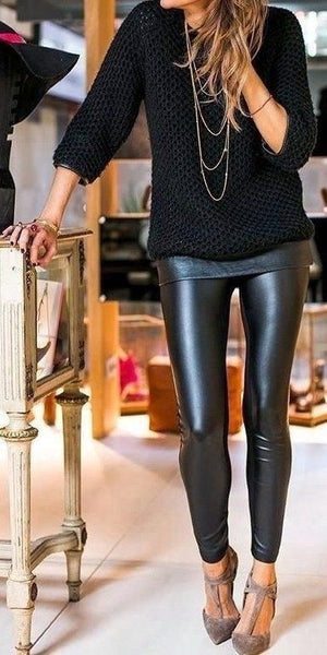 Liquid leather leggings