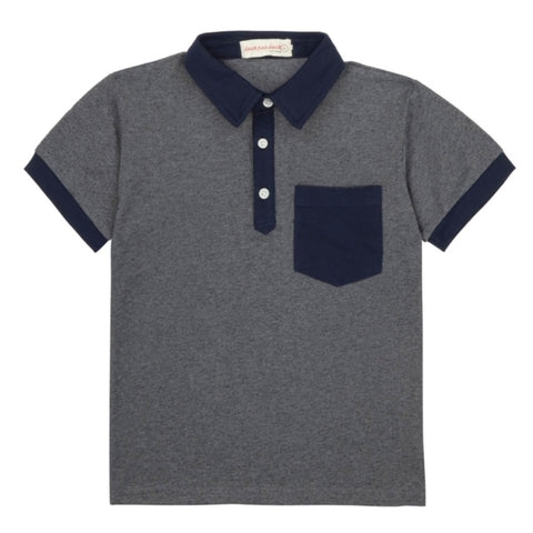 Navy Textured Polo T-Shirt