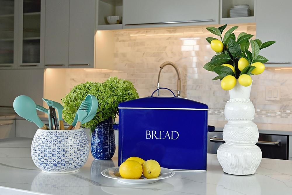 Royal blue modern farmhouse extra large bread bin with white lettering