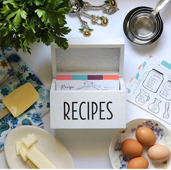 White farmhouse vintage recipe box with farmhouse theme recipe cards with eggs, butter and measuring cups