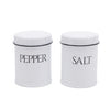White Farmhouse Metal Kitchen Salt & Pepper Shaker Set