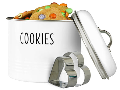 White Metal Cookie Jar with Airtight Lid and Cookie Cutters