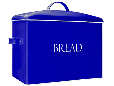 Outshine Extra Large Bread Box, Blue | Countertop Space-Saving Vintage Farmhouse Metal Bread Bin | High Capacity Bread Storage