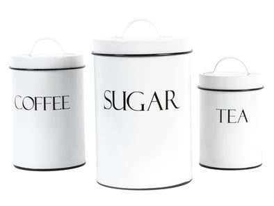 White Metal Nesting Kitchen Canisters with Air Tight Lids (3pcs)