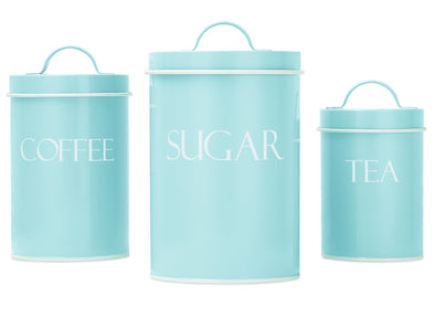 Mint Metal Nesting Kitchen Canisters |  Vintage Farmhouse Design | Perfect for Coffee, Tea & Sugar|  Set of 3