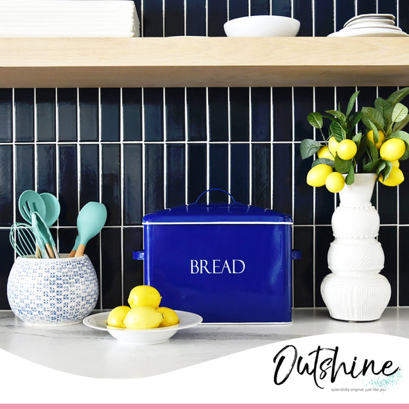 Outshine Extra Large Bread Box, Blue | Countertop Space-Saving Vintage Metal Bread Bin | High Capacity Bread Storage - Holds 2+ Loaves | Farmhouse Bread Box for Kitchen Countertop | Housewarming Gift