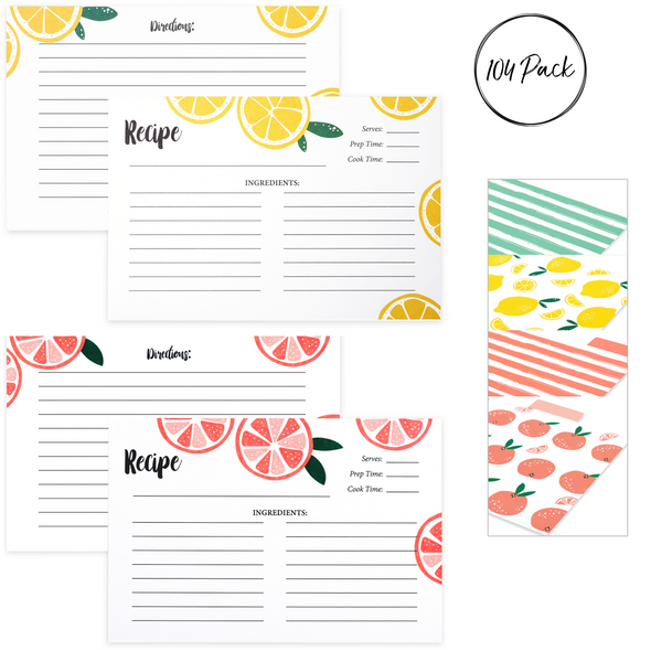 "4"" x 6"" Fruit Recipe Cards Bulk Set for Recipe Box (104 Pack)"