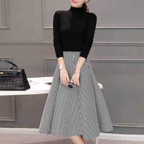 High Neck Striped Two-Piece Skater Dress