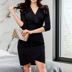 V Neck Ruffle 3/4 Sleeve Slim Bodycon Dress