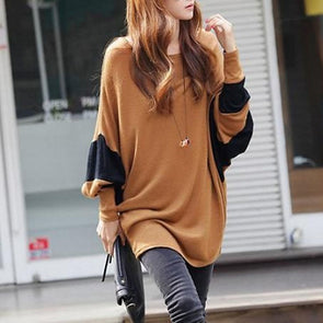 Round Neck Patchwork Color Block Bell Sleeve T-Shirts