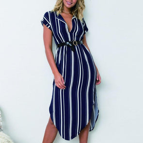 Sexy V Collar Stripe Midi Vacation Dress