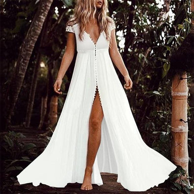 Short Sleeved Sexy V-Neck Beach Maxi Dress