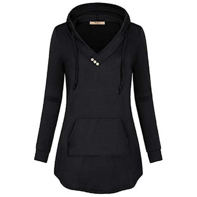 Hooded Decorative Buttons Plain Hoodie