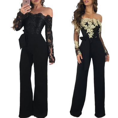 Lace Patchwork Fashion Casual jumpsuits