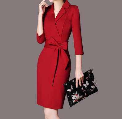 Temperament Lapel Long Sleeve Bandage Work Bodycon Dress
