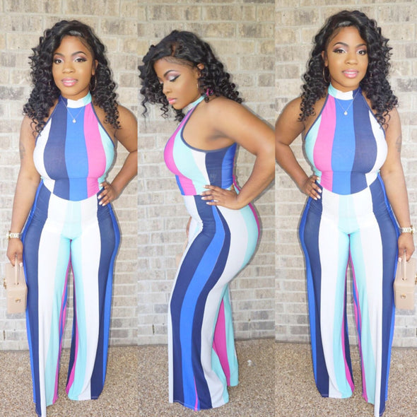 Fashion Sleeveless Hit Color Round Neck Jumpsuits