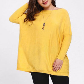 Casual Long Sleeve Pure Color Off Shoulder Plus Size Tops