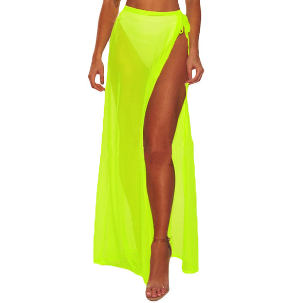 fashion Solid Color high waist split skirts