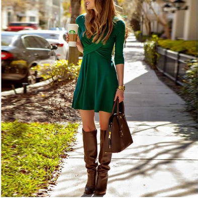 Cross Pure Color 3/4 Sleeve Skater Dresses