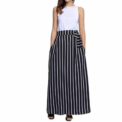 casual Stripe high waist maxi skirts