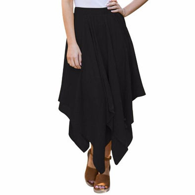 casual Solid Color high waist maxi irregular skirts