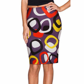fashion print high waist bodycon knee-length skirts