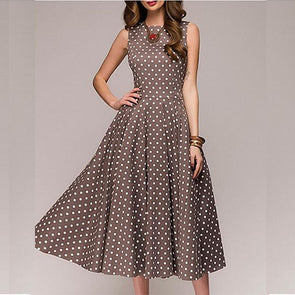Dots Round Neck Sleeveless High Waist Skater Dresses