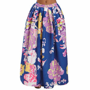 fashion print high waist maxi skirts